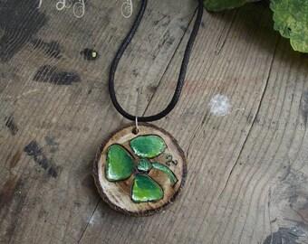 Irish lucky shamrock  pendant - Luck of the Irish
