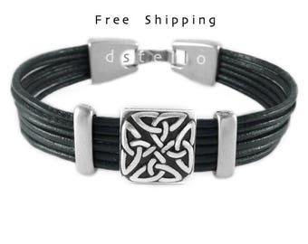 Celtic bracelet, Custom mens leather bracelet, Mens bracelet leather celtic, Eternity man infinity bracelet, 3 year anniversary, Womens cuff