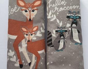 Hello Doe Hello Raccoon- Car Seat Strap Covers/Stroller Strap Covers/Reversible Strap Covers