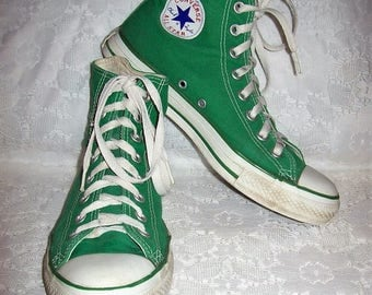 Vintage Mens Green Chuck Taylor High Top Canvas All Star Converse Tennis Shoes Size 7 Only 15 USD