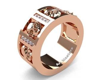 Mens Modern 14K Rose Gold Channel Diamond Skull Wedding Ring R413-14KRGD