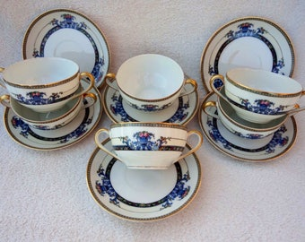 Vintage Noritake Daventry Bouillon Cups and Saucers
