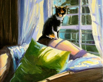 Interior art of NINA OP die BANK, painting of cat in midday sun, green and purple,gift for mom, gift for her, Christmas gift, Holiday gift