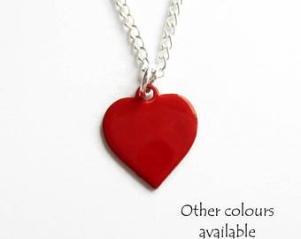 Tiny Heart Necklace - Bridesmaid Necklace - Wedding Necklace - Valentines Gift - Dainty Necklace - Small Necklace - Enamel Jewellery