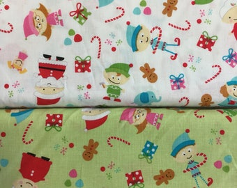 Riley Blake Santa's Work Shop C2970 in Green or White  by the half metre