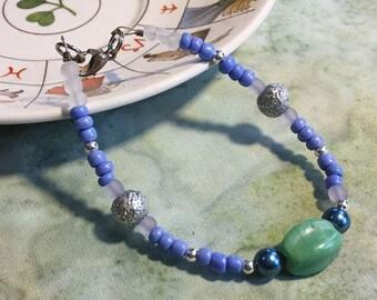 Tiny Blue and Green Necklace - altar adornment, shrine decoration, saint statue, goddess statue