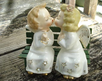 Kissing Angels on Bench Figurines