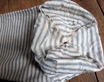 Vintage linen bolster pillow cover case in mattress ticking, French indigo blue ticking stripe fabric, striped mattress toile, French fabric
