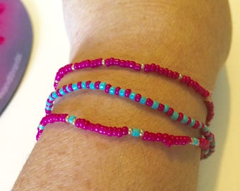 Seed Bead Stretch Bracelet Set of 3-- Hot Pink/Turquoise/Gold
