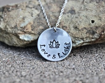 Lotus Necklace, Love and Light, Love and Light Charm, Lotus Boho Necklace, Lotus Flower Charm, Lotus Necklaces, Yoga Necklaces, Lotus Bobo