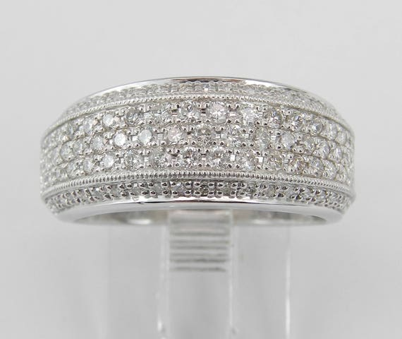 Diamond Wedding Ring Anniversary Band Pave Set White Gold Size 7