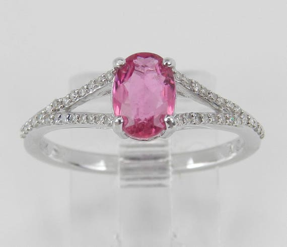 Diamond and Pink Sapphire Engagement Ring Promise White Gold Size 7