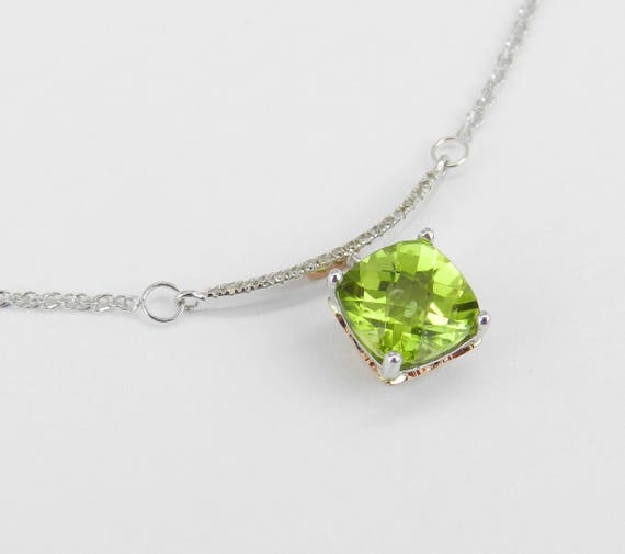 "Diamond and Cushion Cut Peridot Dangle Bar Pendant Necklace White Gold 17"" Chain August Gem"