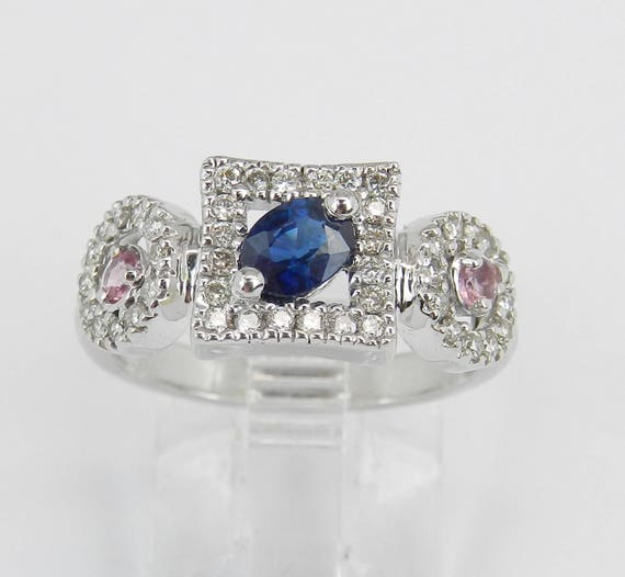 14K White Gold Diamond and Sapphire Halo Engagement Ring Size 6 Pink Sapphire