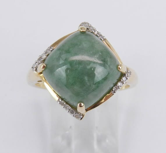 14K Yellow Gold Cushion Jade and Diamond Cocktail Right Hand Ring Size 8