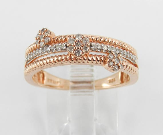 Rose Gold Multi Row Diamond Cluster Ring Flower Anniversary Band Size 7