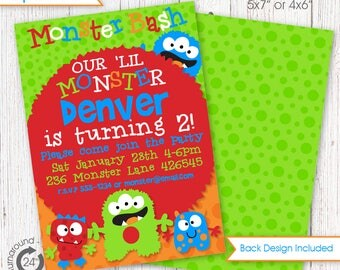 Little Monster Party Invitation DIGITAL files only - Little Monster Invite | Printables | Printable Invitation | Little Monster Party