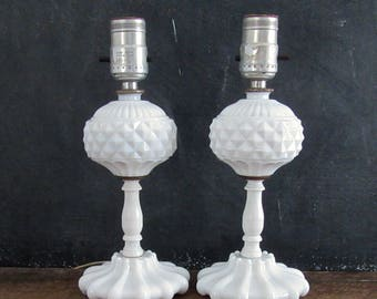 Vintage Pair Milk Glass Lamps, Milk Glass Boudoir Lamps, Shabby Farmhouse Decor