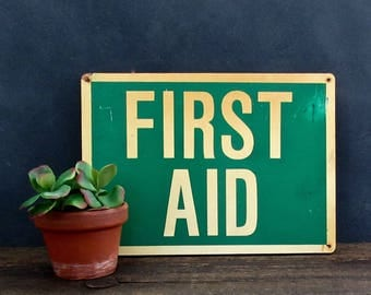 Vintage First Aid Sign, Factory Sign, Industrial First Aid Sign, Industrial Decor
