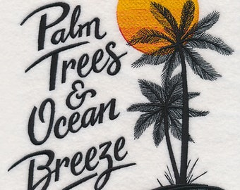 Palm Trees and Ocean Breeze Embroidered on Plain Weave Cotton Tea Towel // Iron-on Patch // Kona Cotton Fabric Square