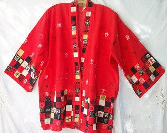 Vintage Short Kimono~Novelty print ~ Red with Abstract Graphics~ Sea Turtle ~ Asian Theme ~Unisex Design /Grafic Patern  ~ 1950's Style