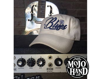 Blues Music Hat from Mojohand.com - delta blues music themed cap - Antique White