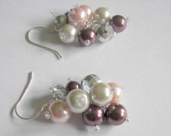 Bridesmaid Pearl and Crystal Cluster Earrings   Plum  Pink and Silver Pearls with Crystals, Plum Pearl Cluster Earrings, Bridal Party Gift