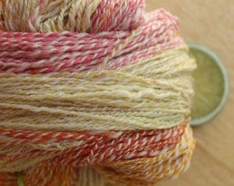 Sherbet - Handspun Merino Cashmere Sparkle Yarn Self Striping Fingering
