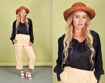 70s Black Ruffle Blouse Vintage Sheer Victorian Long Sleeve Top