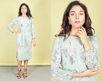 80s Aqua Blue Beaded Dress Vintage Sparkly Sequin Flapper Dress