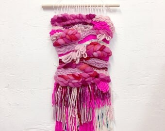 Pink Waves Woven Wall Hanging
