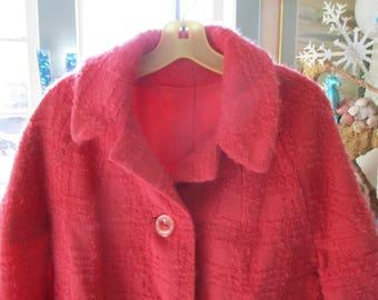 50's 60's Hot Pink Brocle Angora Coat