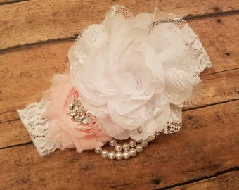 Shabby Chic White & Light Pink Flower w/ Pearls Stretch Lace Elastic Headband - Photo Prop, Flower Girl, Newborn, made to fit any age