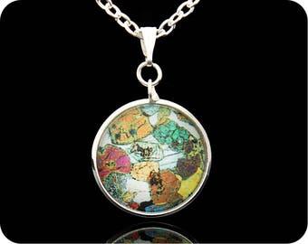 Scottish Geology pendant - Scottish Jewellery - Peridotite, Ardnamurchan, Scotland rock section - Science jewellery - Geology jewellery  UK