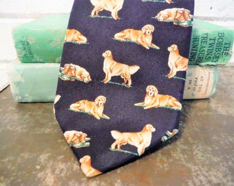 Golden retriever necktie, blue and tan necktie, dog necktie, silk necktie, vintage dog necktie, Golden retriever