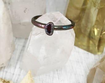 Raw Garnet ring, gemstone ring, crystal ring, raw crystal ring, stacking ring, copper gemstone ring, birthstone ring