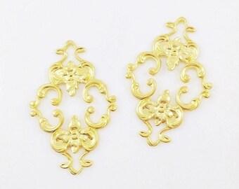 Gold Filigree, Brass Filigree, Diamond Filigree, Flower Connector, Brass Stamping, Cabochon Wrap, 23mm x 36mm- 2 pcs. (gd130)
