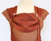 BaBy SaBye handwoven reversible Wrap Conversion Meh Dai - mei tai baby carrier 100% cotton - STANDART size (0-24 m.) - Autumn Sonate RED