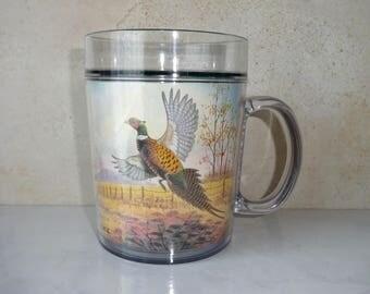 Vintage Thermo-Serv Mug Coffee Cup Insulated Thermal Plastic Mug Flying Wild Turkey Field Jerry Raedeke