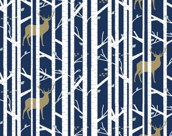 Crib Bumper - Navy in the woods deer