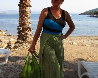 Green Pnats, Plus Size Pants, Women Clothing, Striped Pants, Green boho Linen Wide Leg Pants skirt, Beach Wide Leg Pants, Festival Pants