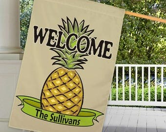 Personalized Pineapple Welcome House or Garden Flag Custom Family Name Gift
