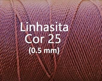 Linhasita Russet Brown (0.5 mm) Cor 25, Waxed Polyester Macrame Cord/ Beading/ Spool