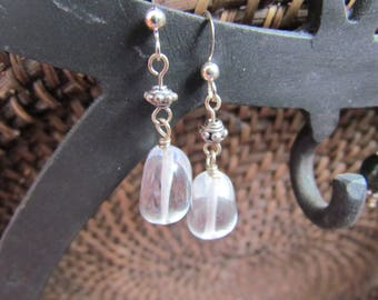 Rock Crystal and Sterling Silver Misfit Earrings