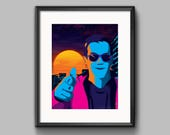 Outrun Guy Art Print - synthwave, vaporwave, outrun, 80s, retro, portrait, neon, guy, blue hair, sunglasses