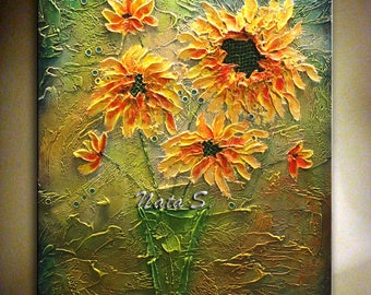 SUNFLOWER Painting, Original Abstract Textured Artwork, Bouquet Painting, Home Office Decor, Contemporary Wall Art, Large Artwork by Nata S.