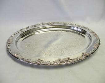 Silverplate Oval Ornate Tray - Silverplate Serving Tray - Wedding, Home Decor, Holiday Server, Farmhouse, Shabby Chic