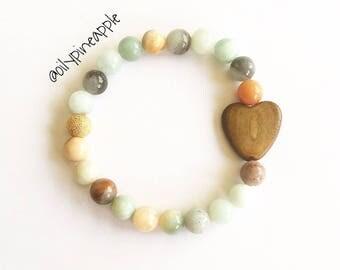 Amazonite + Burnt Horn Heart Bracelet