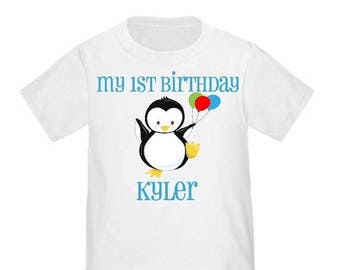 ON SALE Penguin Personalized 1st Birthday Shirt - ANY Age and Name
