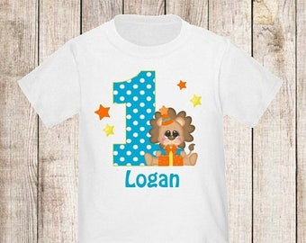 ON SALE 1st Birthday Lion Personalized Birthday Shirt - ANY Age
